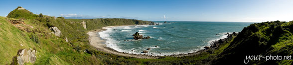 Panorama: Bucht bei Cape Foulwind