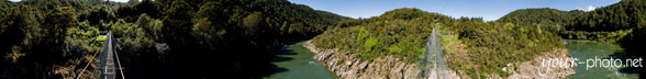 Panorama: Swingbridge am Buller River